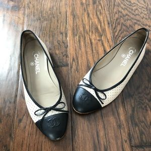 Chanel Beige Black Logo Perforated Ballet Flats 39